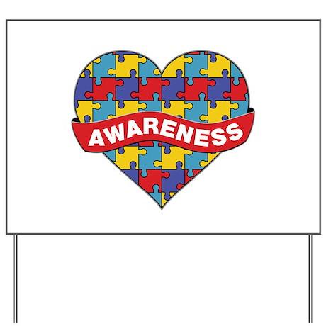 Autism Awareness Heart Yard Sign