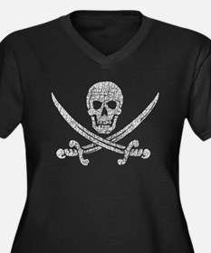 Distressed Jolly Roger Women's Plus Size V-Neck