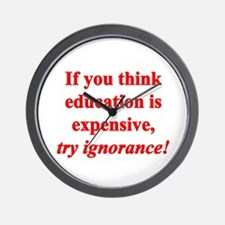Education quote (Red) Wall Clock
