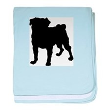 Pug Silhouette baby blanket