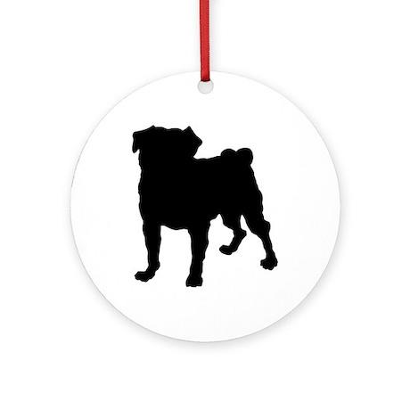 Pug Silhouette Ornament (Round)