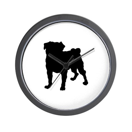 Pug Silhouette Wall Clock