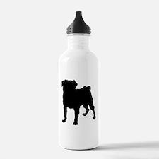 Pug Silhouette Water Bottle