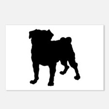 Pug Silhouette Postcards (Package of 8)