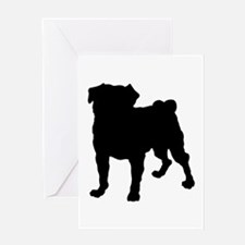 Pug Silhouette Greeting Card