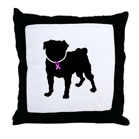 Pug Breast Cancer Support Throw Pillow