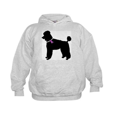 Poodle Breast Cancer Support Kids Hoodie