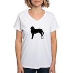Saint Bernard Silhouette Women's V-Neck T-Shirt
