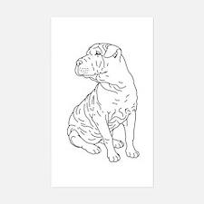 Shar Pei Line Drawing Sticker (Rectangle)