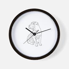 Shar Pei Line Drawing Wall Clock