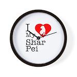 I Love My Shar Pei Wall Clock