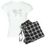 Siberian Husky Outline Women's Light Pajamas