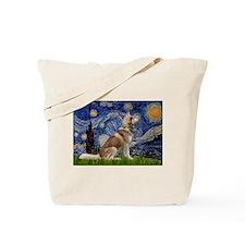 Starry Night & Husky Tote Bag