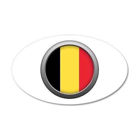 Round Flag - Belgium 22x14 Oval Wall Peel