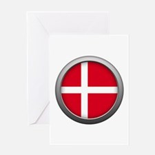 Round Flag - Denmark Greeting Card