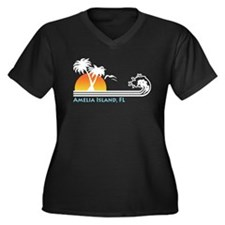 Amelia Island Florida Women's Plus Size V-Neck Dar