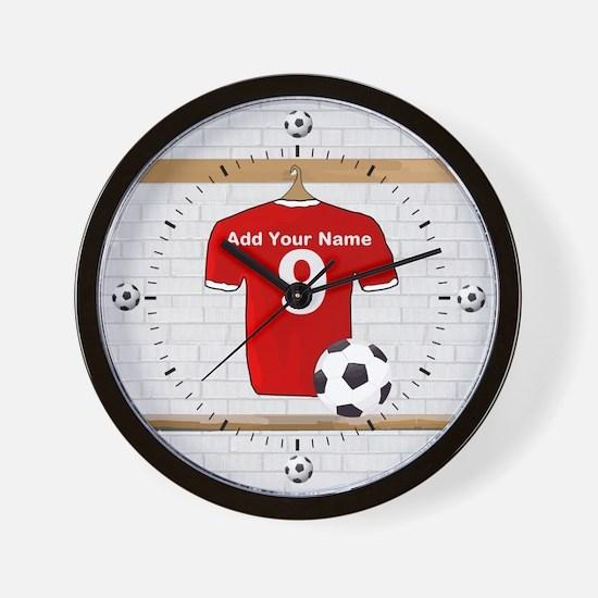 Red Customizable Soccer footb Wall Clock