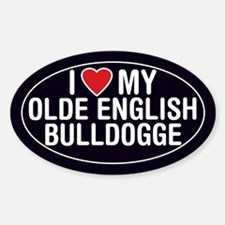 Love My Olde English Bulldogge Oval Sticker/Decal