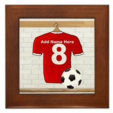 Red Customizable Soccer footb Framed Tile