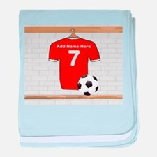 Red Customizable Soccer footb baby blanket