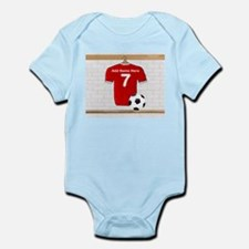Red Customizable Soccer footb Infant Bodysuit