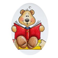 Cute Book Ornament (Oval)