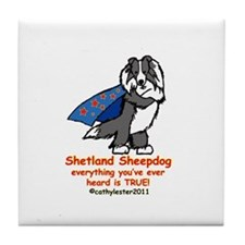 Black Super Sheltie Tile Coaster