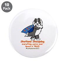 """Black Super Sheltie 3.5"""" Button (10 pack)"""