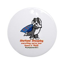 Black Super Sheltie Ornament (Round)