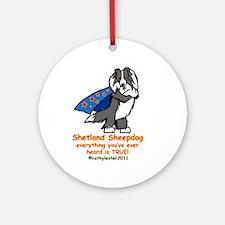 Black Super Sheltie Ornament (Round)