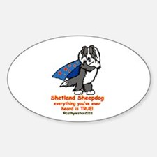 Black Super Sheltie Sticker (Oval)