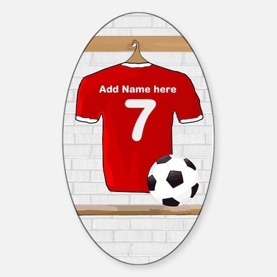 Red Customizable Soccer footb Sticker (Oval 10 pk)