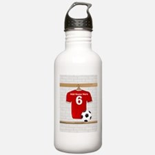 Red Customizable Soccer footb Water Bottle