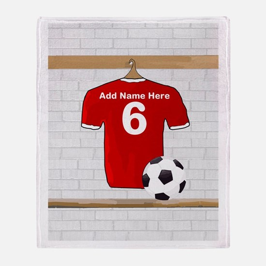 Red Customizable Soccer footb Throw Blanket