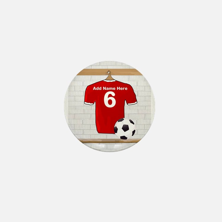 Red Customizable Soccer footb Mini Button (10 pack