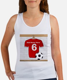 Red Customizable Soccer footb Women's Tank Top