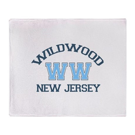 Wildwood NJ - Varsity Design Throw Blanket