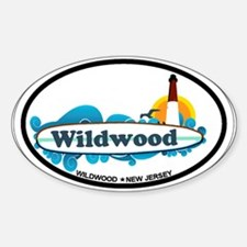 Wildwood NJ - Surf Design Sticker (Oval)