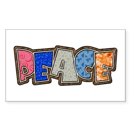 Peace Quilt Rectangle Sticker