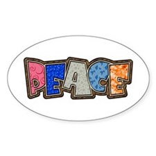 Peace Quilt Oval Decal