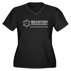 QUANTUM MECHANIC Women's Plus Size V-Neck Dark T-S