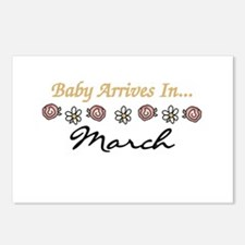 Baby Arrives in March Postcards (Package of 8)