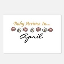 Baby Arrives in April Postcards (Package of 8)