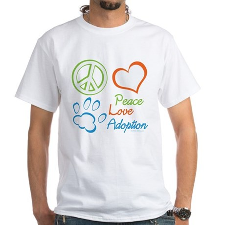 Peace Love Adoption Summer White T-Shirt