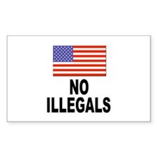 No Illegals Immigration Rectangle Decal