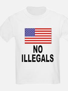 No Illegals Immigration (Front) Kids T-Shirt