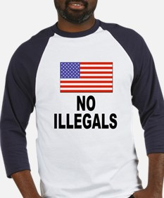 No Illegals Immigration (Front) Baseball Jersey