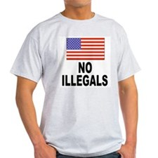 No Illegals Immigration (Front) Ash Grey T-Shirt
