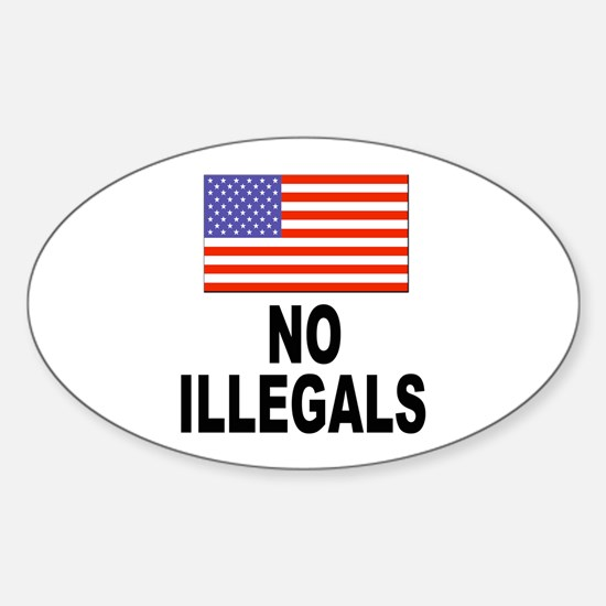 No Illegals Immigration Oval Decal