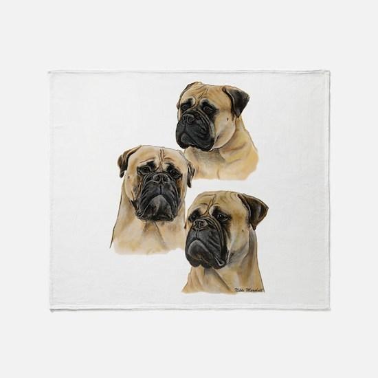 Three Bullmastiff Heads Throw Blanket